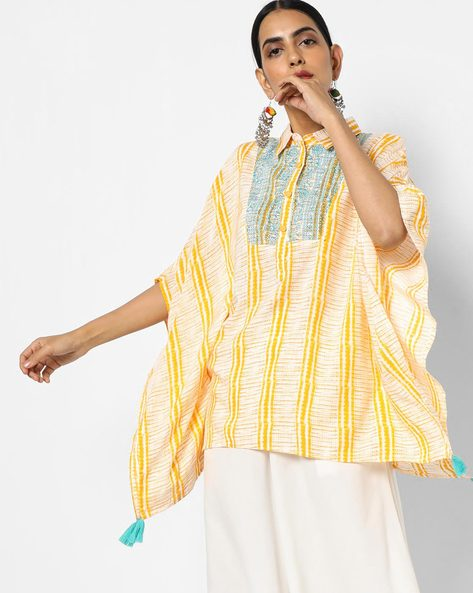 Printed Kaftan Top With Embroidery By AJIO ( Yellow )