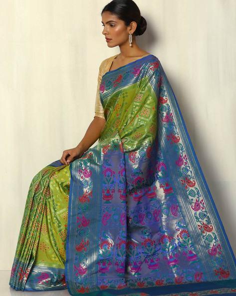 Patola-Style Brocade South Silk Saree By Pretty Woman ( Seagreen )