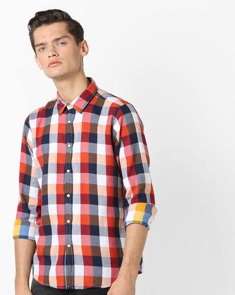 Reversible Cotton Checked Shirt By Pepe Jeans ( Coral )