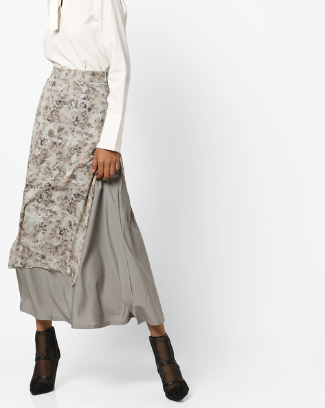 Layered Floral Print Flared Midi Skirt By AMARE ( Grey )