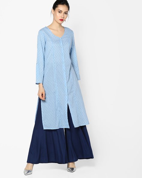 Embroidered Kurta With Front-Slit Hem By Melange By Lifestyle ( Blue )