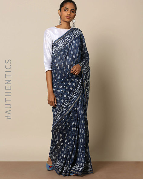 Handblock Indigo Print  Chanderi Saree With Zari By Indie Picks ( Indigo ) - 460146826001