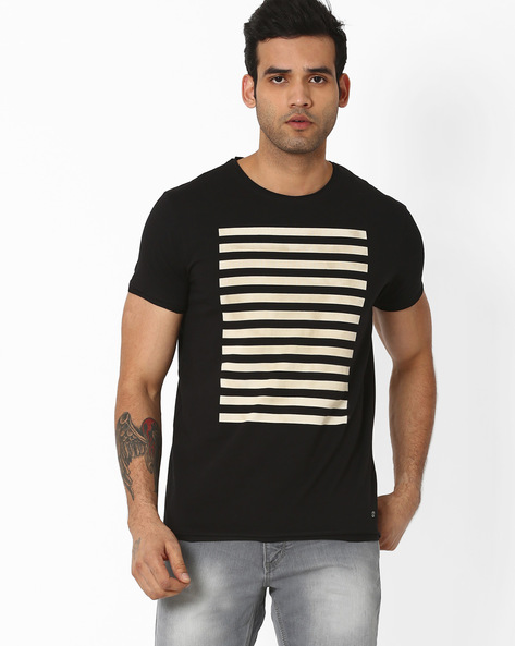 Slim Fit Crew-Neck T-shirt With Stripes By VOI JEANS ( Black )