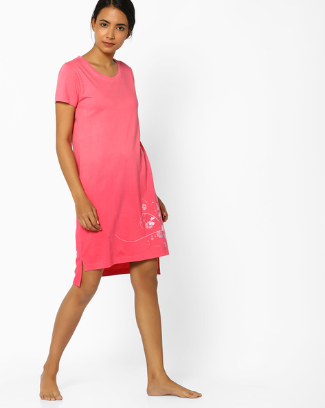 Ombre-Dyed Nightdress With Placement Print By Slumber Jill ( Coral )