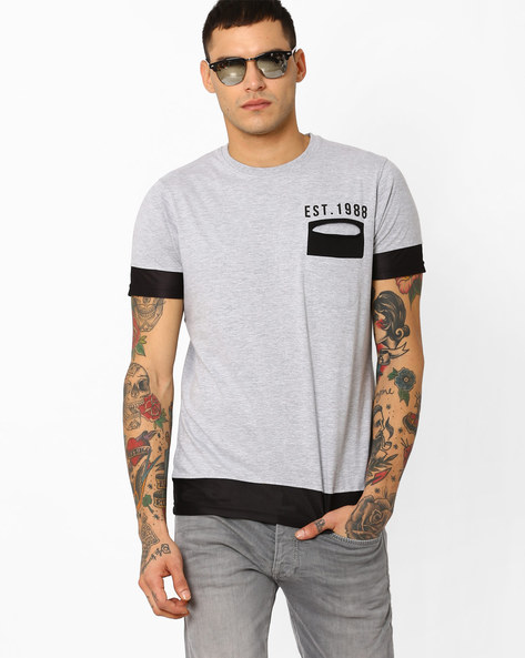 Crew-Neck T-shirt With Mesh Applique By Garcon ( Greymelange )