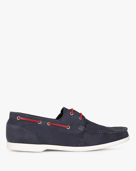 Genuine Leather Casual Shoes By Hats Off Accessories ( Navy )