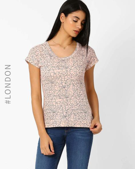Floral Print Pure Cotton T-shirt By Marks & Spencer ( Pink )