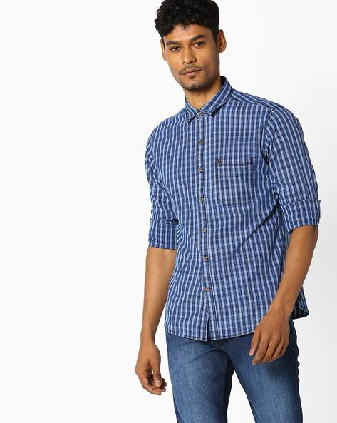 Checked Shirt With Patch Pocket By JOHN PLAYERS ( Blue )