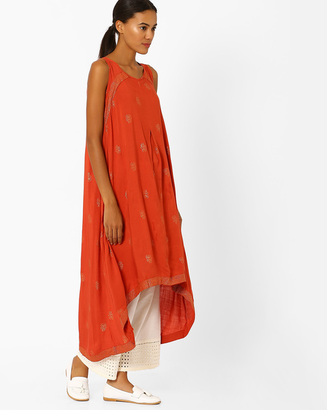 Panelled High-Low Kurta By Global Desi ( Orange )