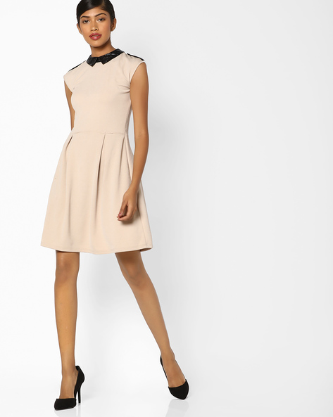 Skater Dress With Contrast Collar By And ( Ltpink )