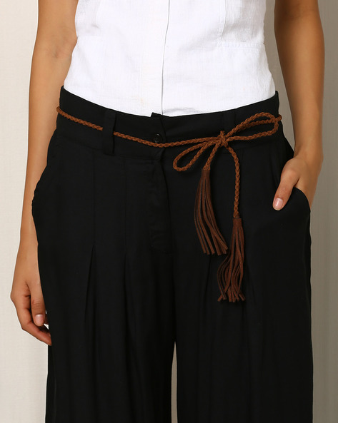 Leather Belt With Tassels By Indie Picks ( Grey )