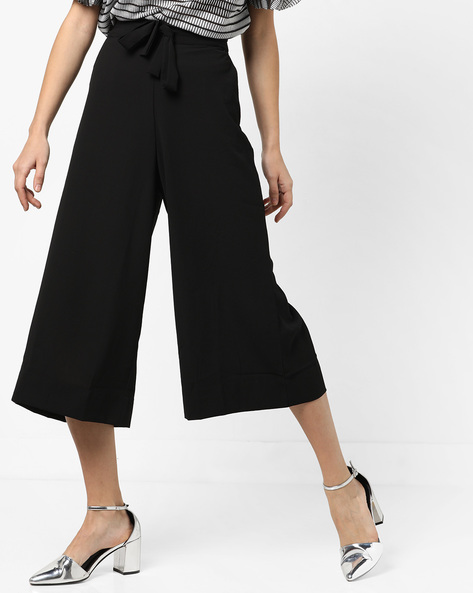 High-Waist Culottes With Tie-Up By CODE By Lifestyle ( Black )