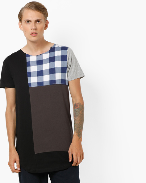 Longline Cut & Sew Panelled T-shirt By KULTPRIT ( Multi )