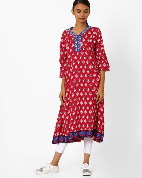 Printed Flared Kurta By Jiyaa ( Red )