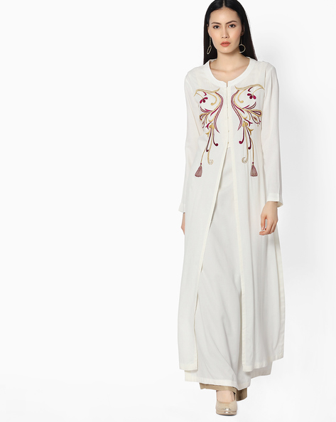 Printed Straight Double-Layered Kurta By Khimsariya ( Offwhite )
