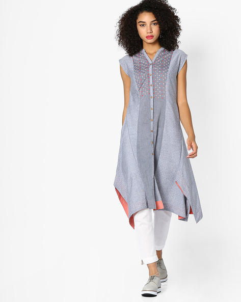 Printed Kurta With Asymmetrical Hemline By AJIO ( Grey )
