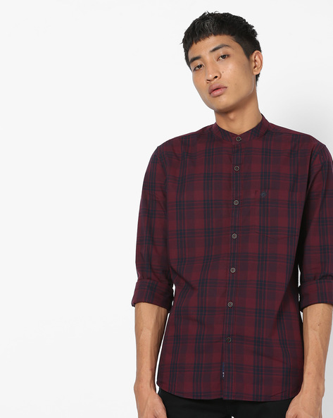 Checked Shirt With Band Collar By NETPLAY ( Maroonburg )