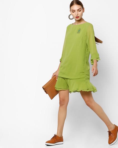 Shift Dress With Flounce Hem By AJIO ( Olive )