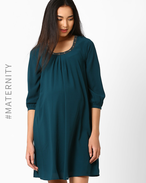 Maternity Shift Dress By Oxolloxo ( Green )