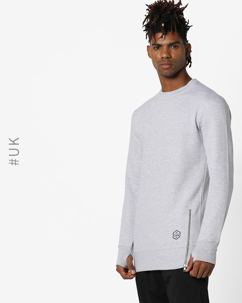 Crew-Neck Sweatshirt With Side Zips By BRAVE SOUL ( Lightgrey )