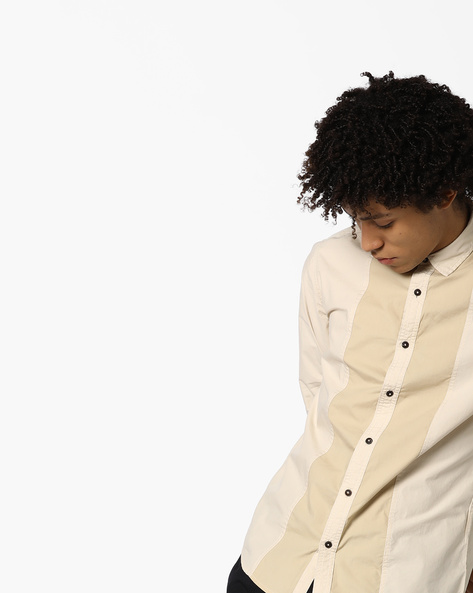 Cut & Sew Cotton Shirt With Mandarin Collar By AJIO ( Beige )