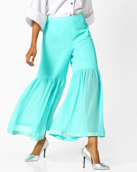 Flared Mid-Rise Pants By AJIO ( Blue )