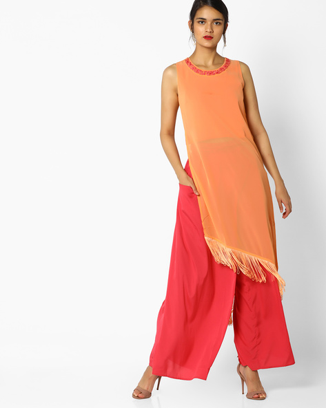 High-Low Tunic With Tassels By AJIO ( Peach )