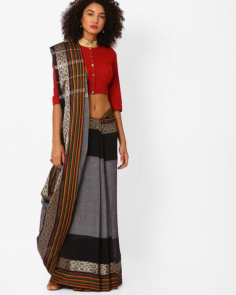Woven Saree With Striped Border By Ishaya ( Grey )