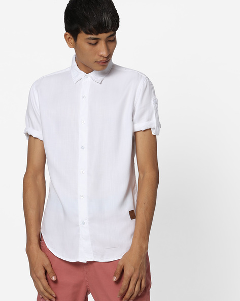 Slim Fit Shirt With Curved Hemline By Blue Saint ( White )
