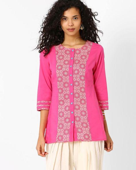 Floral Print Shirt Kurti By AJIO ( Pink )