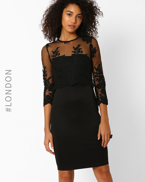 Popover Dress With Embroidery By Zibi London ( Black )