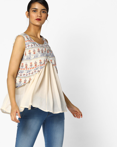 Printed Layered Top By PE IW Fusion ( Yellow )