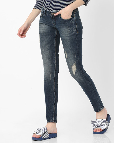Skinny Fit Ankle-Length Jeans By Lee ( Blue )