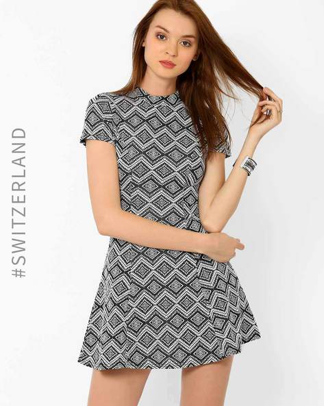 High Neck Printed Skater Dress By TALLY WEiJL ( Black )