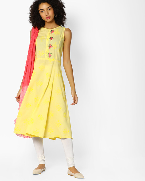Embroidered Kurta With Crushed Dupatta By AJIO ( Yellow )