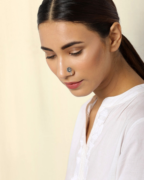Oxidised Silver Brass Nose-Clip Set By Indie Picks ( Multi )