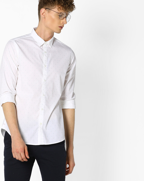 Printed Cotton Shirt By UNITED COLORS OF BENETTON ( White )