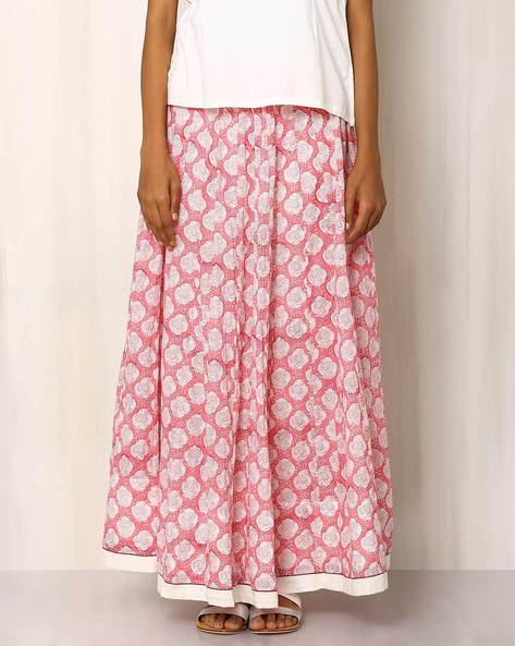Handblock Print Cotton Long Skirt By Pink Lemon ( Lightpink )