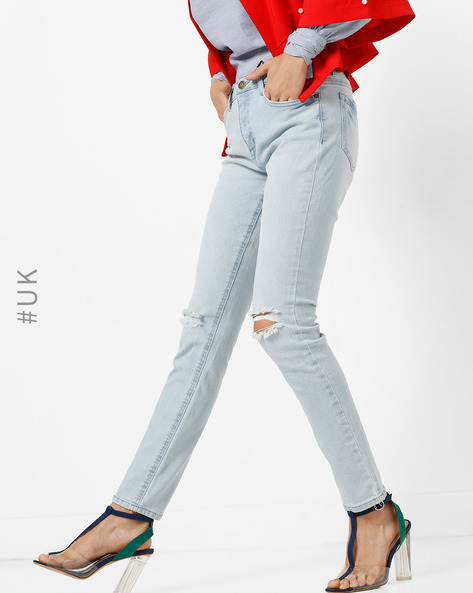 Skinny Fit Distressed Jeans By BRAVE SOUL ( Lightblue )