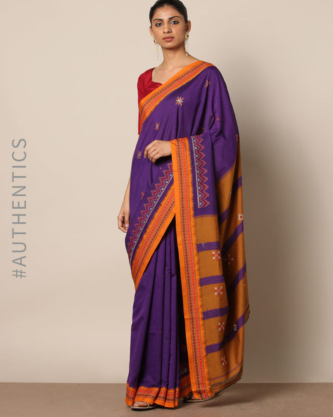 Kasuti Embroidered South Silk Saree By Indie Picks ( Purple )
