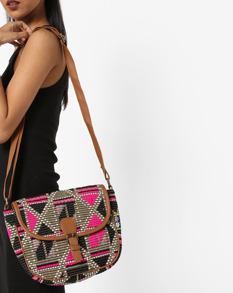 Jacquard Weave Sling Bag By Kanvas Katha ( Black ) - 460124256001