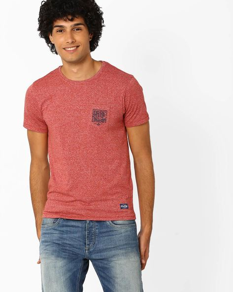 Crew-Neck Pure Cotton T-shirt By FLYING MACHINE ( Red )