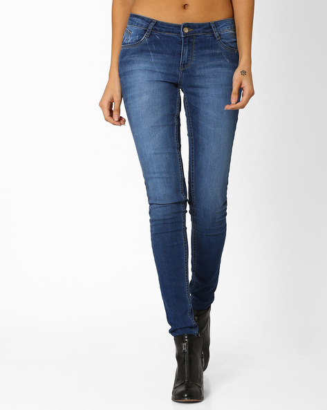 Mid-Rise Skinny Denim Jeans By KRAUS ( Mediumblue )