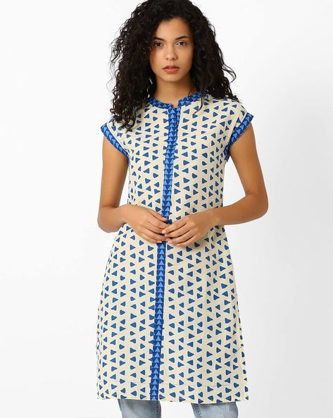 Printed Kurta With Contrast Taping By AJIO ( White )