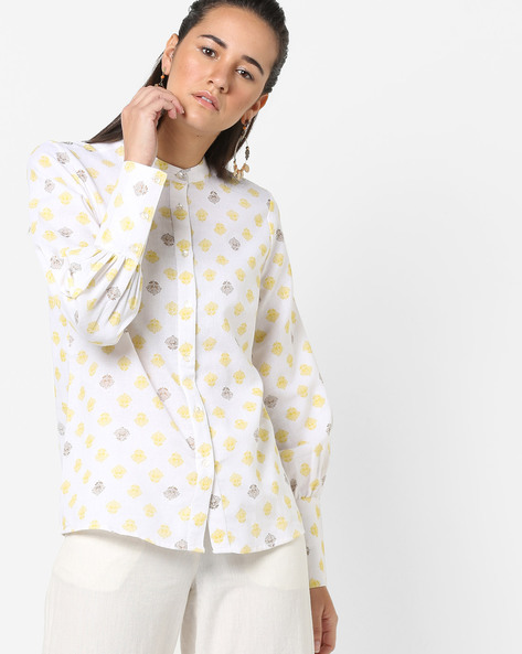 Floral Print Shirt With Mandarin Collar By AJIO ( Yellow )