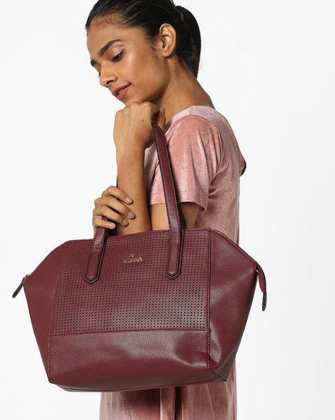 Strelec Laser-Cut Handbag With Detachable Sling Strap By Lavie ( Maroon )