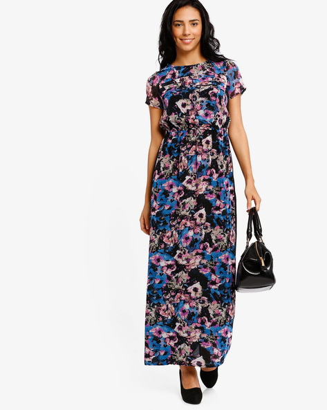 Floral Print Maxi Dress By The Vanca ( Black )
