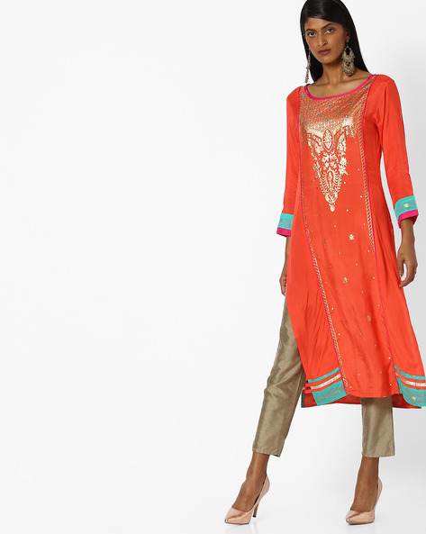 Printed Panelled Straight Kurta By Indian Ink ( Coral )
