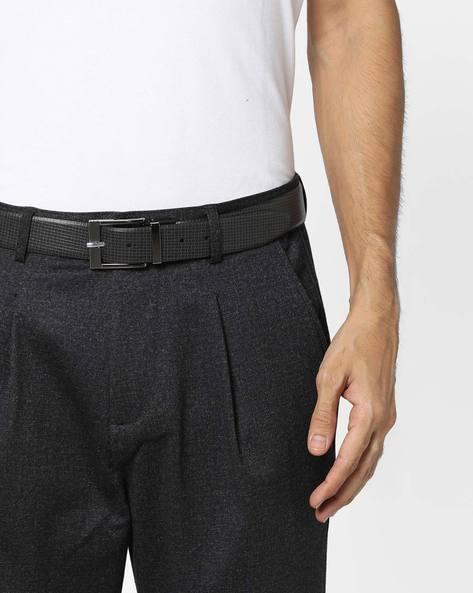 Genuine Leather Textured Belt By ALVARO CASTAGNINO ( Black ) - 460135801001