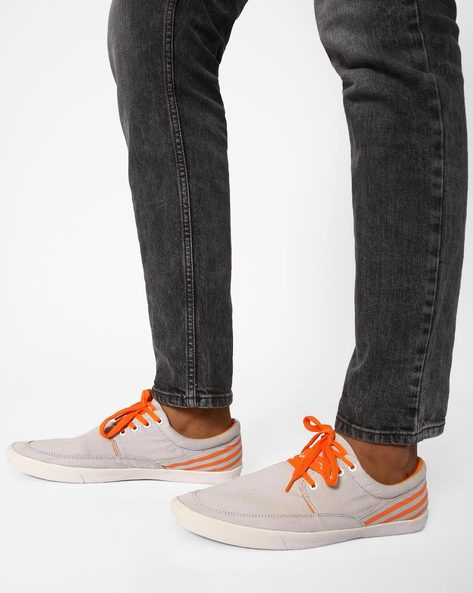 Slim Canvas Sneakers With Contrast Detail By Muddman ( Grey )